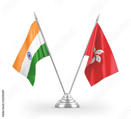 Photo Hong Kong and India table flags isolated on white 3D rendering