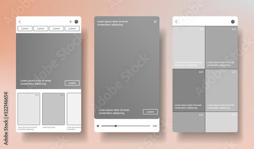 Fototapeta IGTV style concept. Video player inspired by instagram. Vertical stories screen.  Soceal media interface template. Smartphone mockup. Vector illustration obraz na płótnie