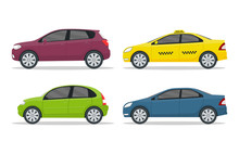 Set Of Cars On Isolated Backgr...