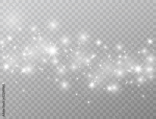 Fototapeta White glowing lights wave isolated on transparent background. Magic glitter dust particles border. Star burst with sparkles. Shining flare. Vector illustration obraz