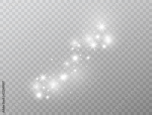 Fototapeta White glowing light effect isolated on transparent background. Magic glitter dust particles. Star burst with sparkles. Shining flare.Vector illustration obraz