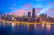canvas print picture - Chicago downtown buildings skyline aerial