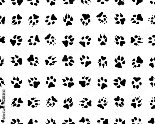 obraz lub plakat Seamless pattern with footprints of dogs on white background