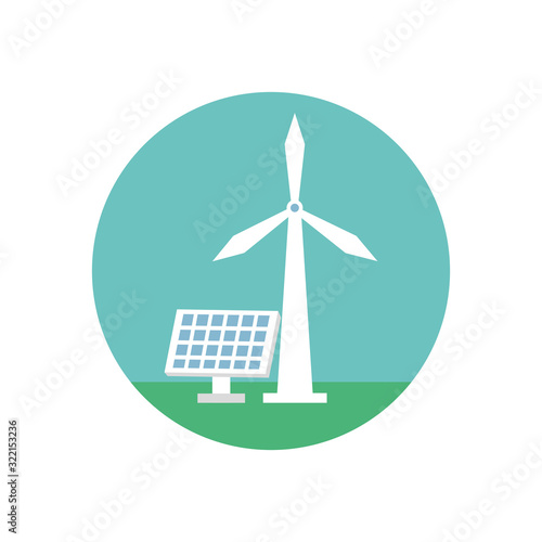 Fototapeta windmill and panel solar energy environmental obraz