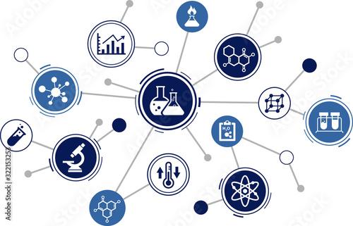 Obraz chemistry / chemical experiments icon concept: science, laboratory analysis, education – vector illustration - fototapety do salonu