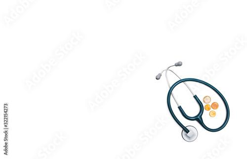 Fotografiet un fonendo azul , utensilio médico, junto a dinero (monedas de euro) bajo un fondo blanco