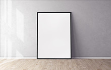 White Poster On Floor With Blank Frame Mockup For You Design. Layout Mockup.