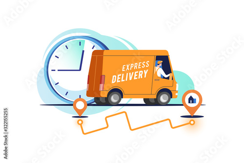 Fotografía Delivery truck with man is carrying parcels