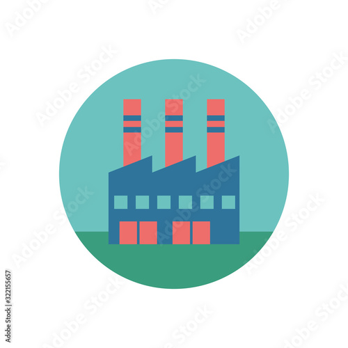 Fototapeta factory plant building isolated icon obraz