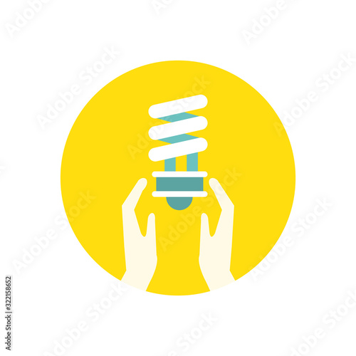 Fototapeta hands with ecology bulb light energy icon obraz