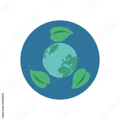 Fototapeta world planet earth with leafs plant obraz