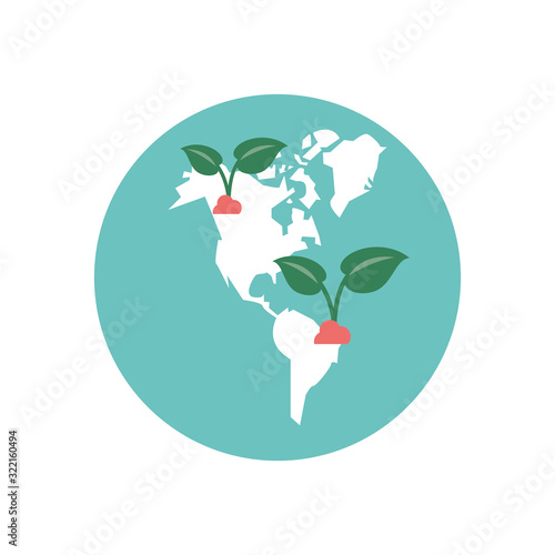 Fototapeta leafs plants ecology in the world maps obraz