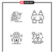 Set of 4 Line Style Icons for web and mobile. Outline Symbols for print. Line Icon Signs Isolated on White Background. 4 Icon Set.