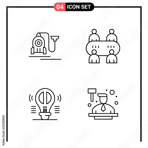 Fototapeta Set of 4 Line Style Icons for web and mobile. Outline Symbols for print. Line Icon Signs Isolated on White Background. 4 Icon Set. obraz na płótnie