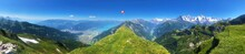Hiking Trail Panorama At The Summit In The Swiss Alps In Summer / Spring