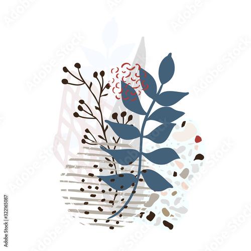 Fototapeta Hand drawn abstract leaves background isolated on white. Vector obraz na płótnie
