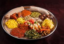 Ethiopian Vegetarian Platter With Injera Bread