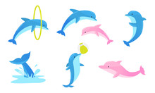 Set Of Colorful Playful Dolphi...