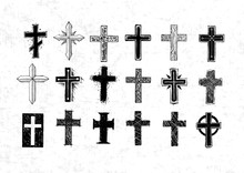 Collection Of Christian Crosses. Doodle Sketch Illustration On Old Paper Background