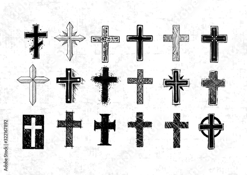 Tableau sur Toile Collection of christian crosses