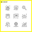 9 Icon Set. Simple Line Symbols. Outline Sign on White Background for Website Design Mobile Applications and Print Media.