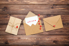 Paper Envelopes With Hearts An...