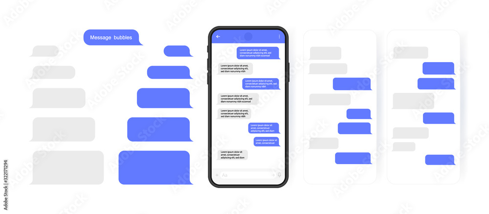 Fototapeta Social media design concept. Smart Phone with carousel style messenger chat screen. Sms template bubbles for compose dialogues. Modern vector illustration flat style