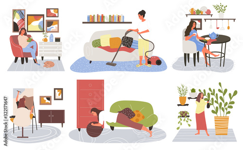 Photo Set of woman doing leisure activities relaxing at home, vacuuming the house, hav