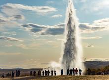 Icelandic Geyser Strokkur. Great Tourist Attraction On Golgen Circle Iceland.
