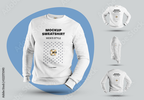 Fototapeta 4 Mockups of Men's 3D Sweatshirts obraz