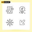 4 Creative Icons for Modern website design and responsive mobile apps. 4 Outline Symbols Signs on White Background. 4 Icon Pack.