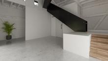 Interior Empty Barn House 3D Rendering