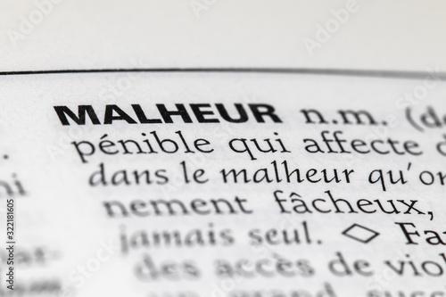 Définition du mot malheur dans le dictionnaire français Canvas Print