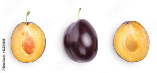 Fotografia fresh purple plum and half isolated on white background with clipping path