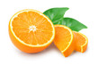 canvas print picture - orange fruit slice with leaves isolated on white background