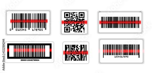 Fotografia, Obraz set of various bar code or set of packaging label bar code or qr codes