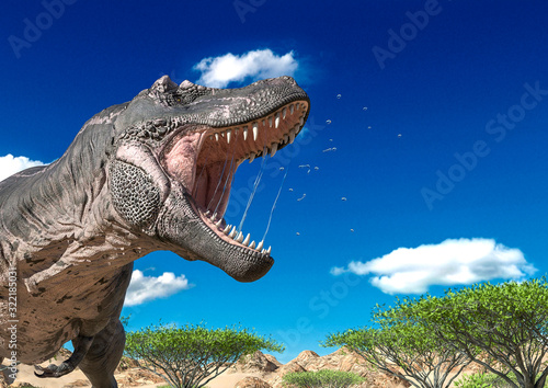Fototapeta tyrannosaurus is angry and alone on desert close up