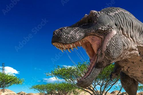 Obraz na plátně tyrannosaurus found somothing on desert close up