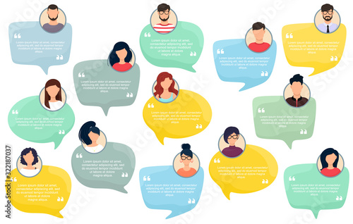 Testimonial Speech bubble concept, customer feedback for info graphic, application for info graphic, application and website Canvas Print