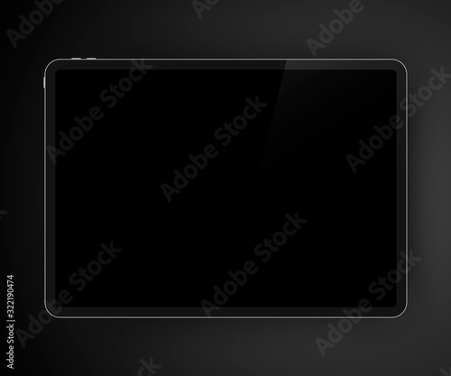 Realistic dark themed illustration of high detailed digital tablet. Black screen of drawing pad for your content Fotobehang