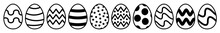 Easter Egg Icon Black | Painted Eggs Illustration | Happy Easter Hunt Symbol | Holiday Logo | April Spring Sign | Isolated | Variations