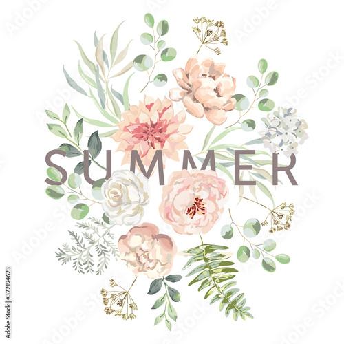 Blush pink dahlia, rose, peony flowers, fern, forest green leaves, white background Tapéta, Fotótapéta