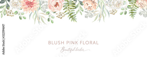 Delicate border of blush pink flowers, forest green leaves, white background. Wedding invitation banner frame. Rose, peony, fern. Vector illustration. Floral arrangement. Design template greeting card #322194647