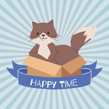 Cat Or Kitten In Cardboard Box...