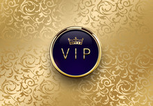 Vip Blue Label With Round Gold...