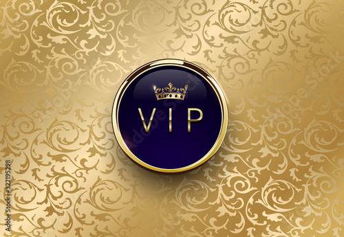 Cuadros en Lienzo Vip blue label with round golden ring frame crown on gold floral background