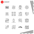 Collection of 16 Vector Icons in Line style. Pixle Perfect Outline Symbols for Web and Mobile. Line Icon Signs on White Background. 16 Icons.