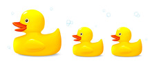 Three Toys Of Rubber Ducks, Ve...