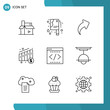 Vector Pack of 9 Outline Symbols. Line Style Icon Set on White Background for Web and Mobile.