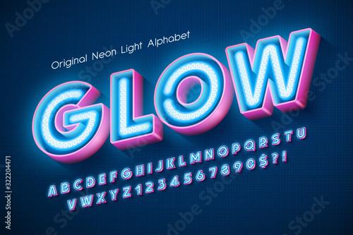 Obraz Neon light 3d alphabet, extra glowing modern type. - fototapety do salonu